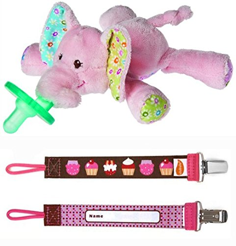 Ella Bella Elephant Wubbanub and OMG Cupcake Pacifier Clip