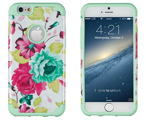 """Iphone 6, Dandycase 2In1 Hybrid High Impact Hard Pink Floral Pattern + Mint Green Silicone Case Cover For Apple Iphone 6 (4.7"""" Screen) + Dandycase Screen Cleaner"""