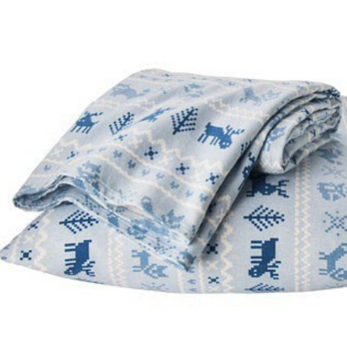 Circo Blue Fair Isle Sheet Set Queen Size Flannel Bed Sheets Reindeer Bedding