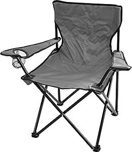 2 x Outdoor Faltstuhl klappbar Campingstuhl Klappstuhl Anglersessel mit Getränkehalter in verschiedenen Farbe Farbe Grau