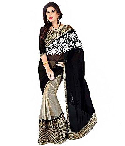 RadadiyaTRD Beautiful Black & White work Saree - Georgette Net Sarees