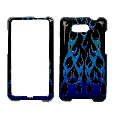 Black Blue Flame Snap on Deisgn Case Hard Case Skin Cover Faceplate for Htc