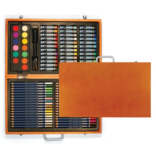 Xonex Wooden Art Set, Stores 36 Colored Pencils, 36 Oil Pastels, 14 Watercolor Cakes, 2 Paintbrushes and A Palette, 15-3/4 X 10-1/2 X 2 Inches, 1 Count (30213)