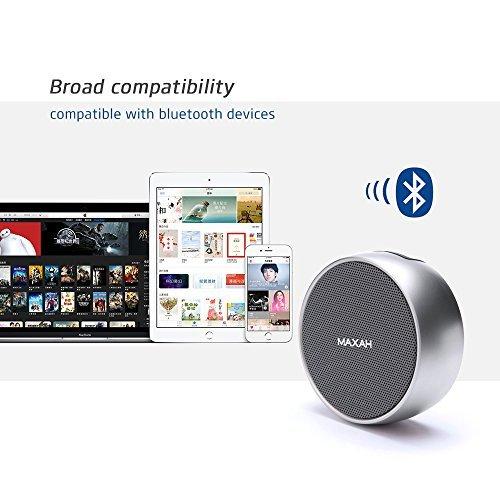 MAXAH® Mini portatile altoparlante stereo / mini altoparlante / altoparlante senza fili / altoparlante Bluetooth / hi-fi. Microfono con altoparlante senza fili, Hands Free Kit, TF, radio FM --argento