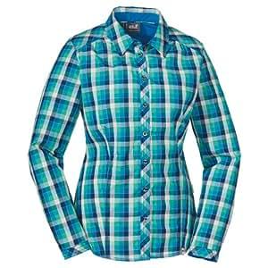 Jack Wolfskin Damen Bluse Faro, Brilliant Blue Checks, XS, 1400951-7297001