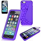 Swees TPU Flip Trasparente Custodia Case Cover per Apple iPhone 5C + Pellicola Protettiva - Porpora