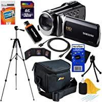"Samsung HMX-F90 Black Camcorder with 2.7"" LCD Screen and HD Video Recording (Import) + 10pc Bundle 32GB Deluxe Accessory Kit w/ HeroFiber® Ultra Gentle Cleaning Cloth from Samsung"