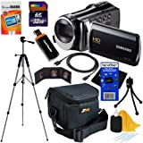 """Samsung HMX-F90 Black Camcorder with 2.7"""" LCD Screen and HD Video Recording + 10pc Bundle 32GB Deluxe Accessory Kit w/ HeroFiber® Ultra Gentle Cleaning Cloth"""