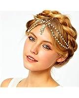 1PC VINTAGE DECO 20s FLAPPER IVORY PEARL HEADBAND GREAT GATSBY WEDDING Head Chain