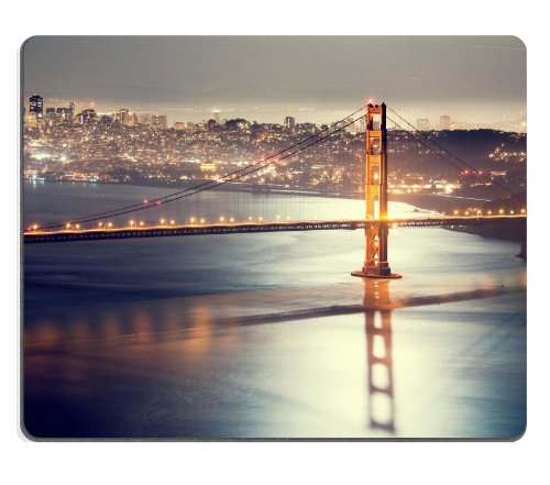 Golden Gate Bridge San Francisco Night Bridge Lights Mouse Pads Customized Made To Order Support Ready 9 7/8 Inch (250Mm) X 7 7/8 Inch (200Mm) X 1/16 Inch (2Mm) High Quality Eco Friendly Cloth With Neoprene Rubber Liil Mouse Pad Desktop Mousepad Laptop Mo front-900217