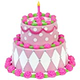"Sophias Miniature Two Tiered Cake, Sized For 18"" Dolls Detailed Pink Birthday Cake"