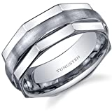 Revoni Hexagonal Edge Combination Finish 8mm Comfort Fit Mens Tungsten Carbide Wedding Band Ring Size P,