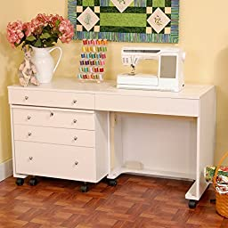 Kangaroo Kabinets K8811 Kangaroo and Joey, Sewing Cabinent and Three Drawer Storage Unit, Ash White