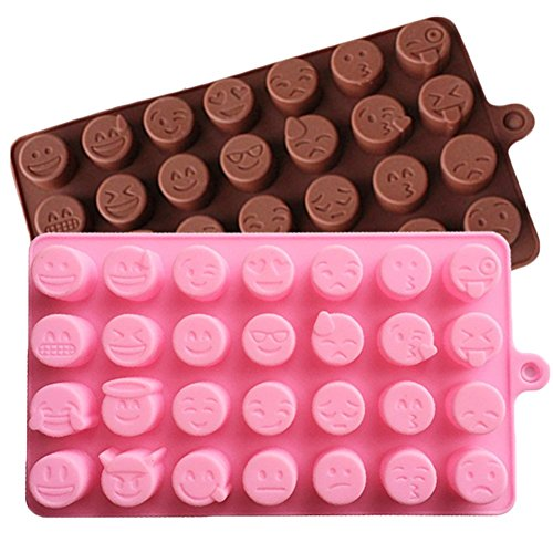 JLHua 28-cavity Emoji Emotion Cake Mold Smiley Chocolate Candy Baking Mould Chocolate+Pink, 2 Pack