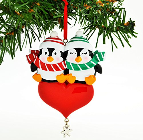 PERSONALIZED CHRISTMAS ORNAMENT PENGUIN RED COUPLE WITH HEART SNOWFLAKE DANGLE (Ball Customized compare prices)