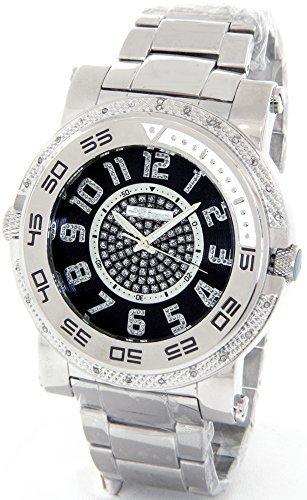 e763c0d4fde JOJINO Real Diamond Watch Mens Deluxe Silver Tone Case Metal Band MJ-1228