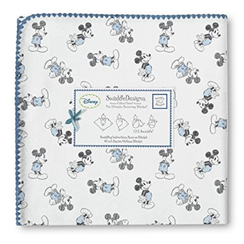 Swaddledesigns Ultimate Receiving Blanket, Classic Disney - Dark Gray Mickey, True Blue front-93073
