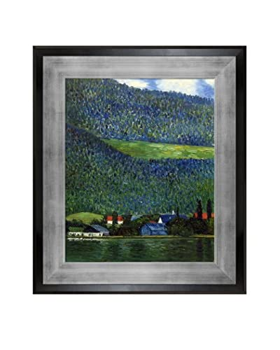 Gustav Klimt's Unterach On Lake Atter, 1915 Framed Hand Painted Oil Canvas, Multi, 32″ x 28″