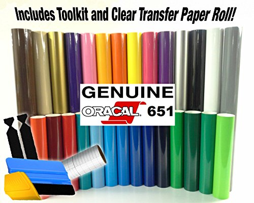 ORACAL 651 Multi-Color Vinyl Starter Kit Bundle for Cricut, Silhouette & Cameo Incl. 3M Installation Toolkit and Clear Transfer Paper (10 rolls) (Vinyl Starter Bundle compare prices)