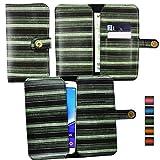 Emartbuy® Grün Vintage Stripes PU Leder Mappen Kasten