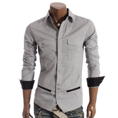 Mens Unique design Longsleeve Dress Shirts GREY (AAK01)