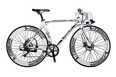 Cyrusher Machete White Aluminium Frame 54 cm 700C 70MM Mens Road Bike Speeds Road Bicycle Mechanical Disc Brakes