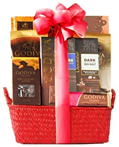 Wine.com Dark Chocolate Gift Basket Containing Godiva Chocolate