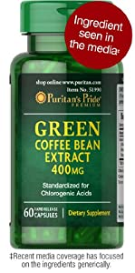 Puritan's Pride Green Coffee Bean Extract 400 mg-60 Rapid Release Capsules