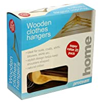 20pc Flat Wooden Hanger Set