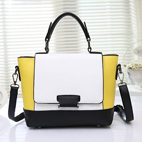 Ryse Womens Fashionable Mixed Color Exquisite Temperament Handbag Shoulder Bag(Yellow)