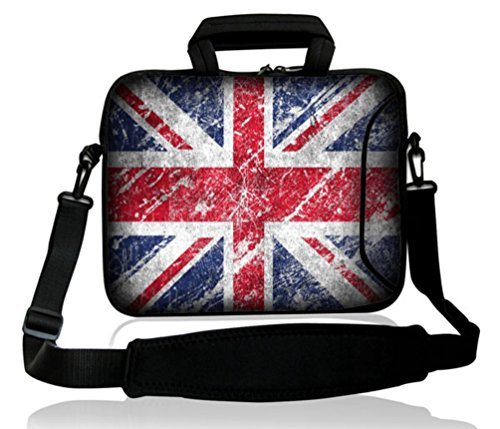 """Waterfly® Uk Union Jack Arts 15"""" 15.4"""" 15.6"""" Inch Laptop Notebook Computer Netbook Soft Shoulder Bag Messenger Bag Case Cover Pouch Holder With Extra 10"""" Pocket For Apple Macbook Pro 15 Macbook Air 15 Lenovo Thinkpad T60 Sony Vgn-Bz21Vn 15.4"""" Dell Xps X15"""