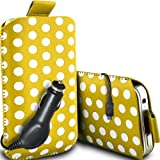 Fone-Case Huawei Ascend P1 LTE Protective Polka PU Leather Pull Cord Slip In Pouch Quick Release Case & 12v Micro USB In Car Charger (Yellow & White)