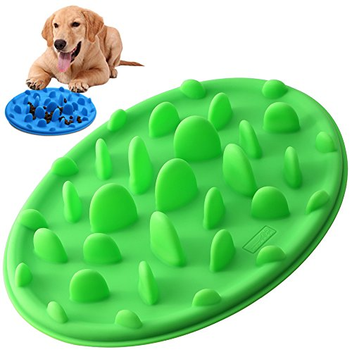 Slow Feed Dog Bowl, PETBABA Interactive Puzzle Nonskid Silicone Dog Food Bowl to Slow Down Eating Green S (Large Slow Feeder Bowl compare prices)