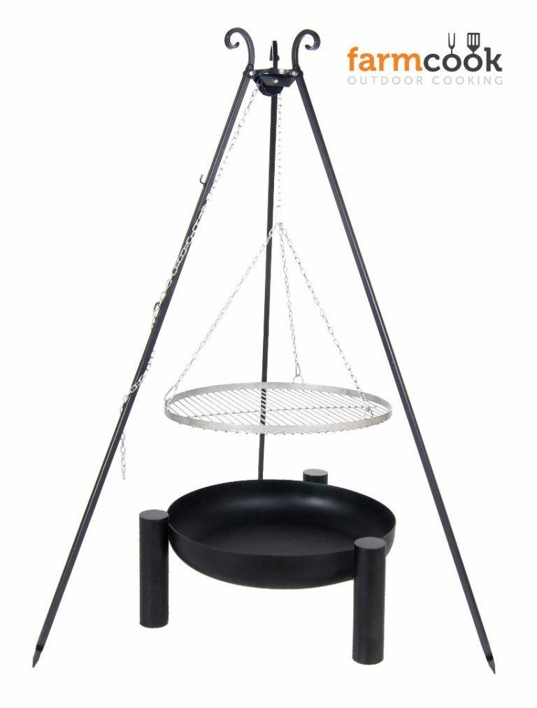Dreibein mit Rost aus Edelstahl 70 cm und Feuerschale Pan 38 80 cm günstig