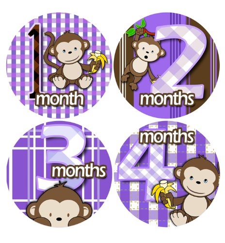 PURPLE BANANA MONKEYS Baby Photo Onesie Milestone Stickers Monkey Baby Month Onesie Stickers Baby Shower Gift Photo Shower Stickers