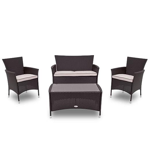 Salotto salottino polirattan 4PZ divano 2 poltrone tavolo per giardino 2820047
