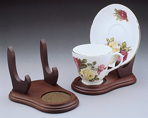 Cup and Saucer Wood Display Stands - Walnut Finish - Set of 2 Stands - Tea Cup Display - Tea Cup Stand - Wood Stand (Cup Saucer Display compare prices)