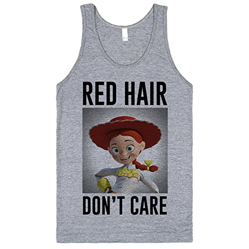 Red Hair, Don't Care | Jessie Cowgirl (Toy Story) | M Athletic Grey T-Shirt (Cowgirl Jessie)