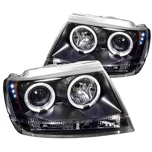 Spyder Auto Jeep Grand Cherokee Black Halogen LED Projector Headlight