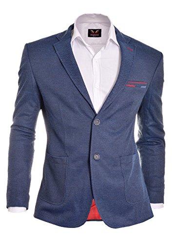 D&R Fashion Blu Beige Mena sguardo casuale giacca sportiva Due pulsanti finitura di qualità