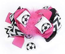 A Girl Company Soccer Chevron Hot Pink Hair Bow