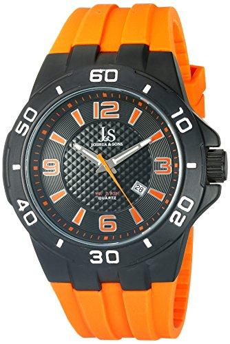 Joshua & Sons Homme Montre à quartz avec affichage analogique cadran noir et sangle en silicone orange jx115or