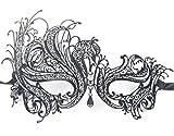 Signstek Metal Laser Cut Filigree Masquerade Venetian Party Mask Black