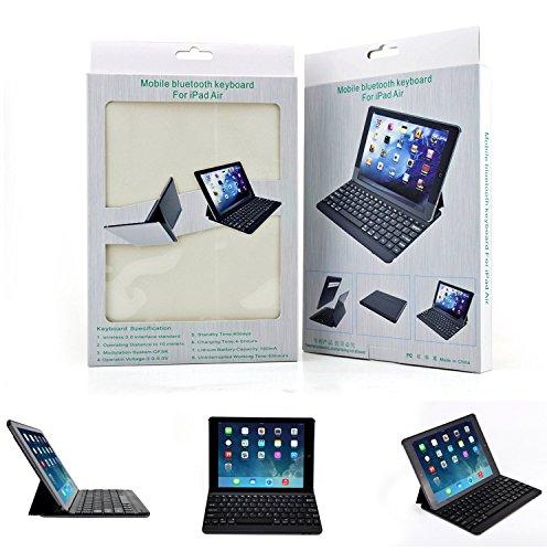 PopSky Apple iPad Air 2  (iPad 6) ケース2014 全2色Apple iPad Air 2 (iPad 6) 9.7 インチ専用 Bluetooth3.0搭載 ワイヤレスブルートゥースキーボードケース、キーボード付き 高級PUレザーケース自動スリープ機能付きとスタンド機能付き Bluetooth keyboard case for iPad 6 (ブラック)
