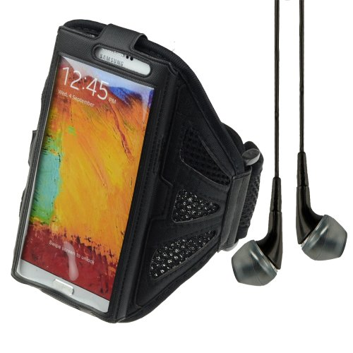 Adjustable Fabric Workout Armband For Samsung Galaxy Note 2 / Note 3 And More (Black) + Vangoddy Headphone With Mic, Black