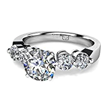 buy Palladium If You Like The Look Of Diamonds Without A Lot Of Metal This Shared Prong Engagement Setting Offers Just That With Four Gorgeous Round Brilliant Diamond Side Stones 5/8 Ctw Near-Colorless Color Si1-Si2 Clarity