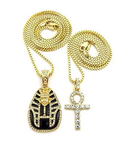 [Round Stone Stud Ankh & Black Headdress Pharaoh Pendant Set 2mm 24
