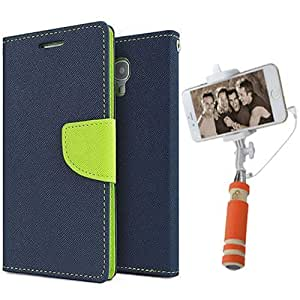 Aart Fancy Diary Card Wallet Flip Case Back Cover For Samsung 9082 - (Blue) + Mini Aux Wired Fashionable Selfie Stick Compatible for all Mobiles Phones By Aart Store
