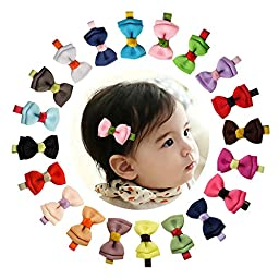 Shemay 2-3 inch Grosgrain Ribbon Tiny Boutique Hair Bows Alligator Clips For Baby Girls Toddlers Kids Barrettes