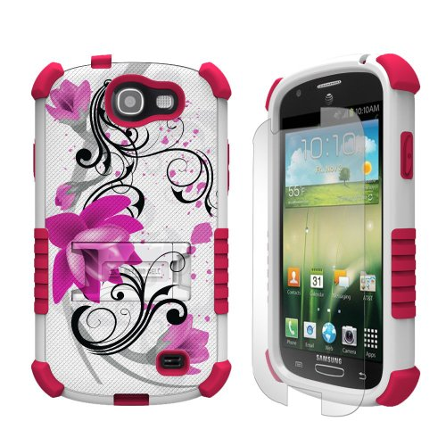 Beyond Cell Tri-Shield Durable Hybrid Hard Shell and TPU Gel Case for Samsung Galaxy Express i437 - Retail Packaging - White/Pink/Lotus